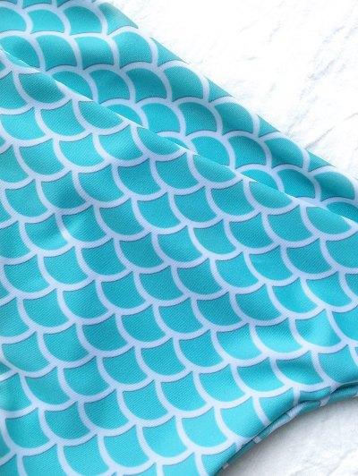 Fish Scale Plunge Thong Bikini - BLUE AND WHITE L Mobile