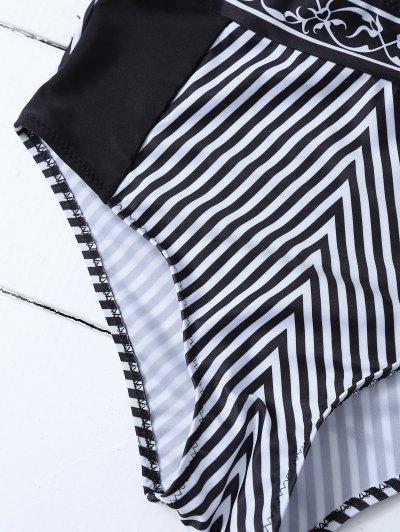 High Waisted Halter Striped Bikini - BLACK XL Mobile