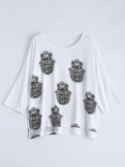 High Low Printed Loose T-Shirt - WHITE L Mobile