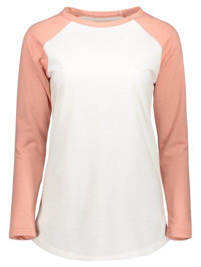 Color Block Raglan Sleeve Casual T-Shirt - WHITE 2XL Mobile