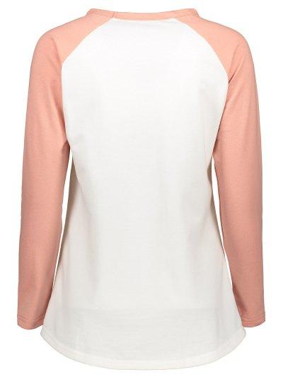 Color Block Raglan Sleeve Casual T-Shirt - WHITE S Mobile