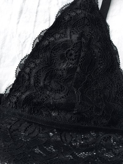 Lace Unlined Plunge Bra - BLACK XL Mobile