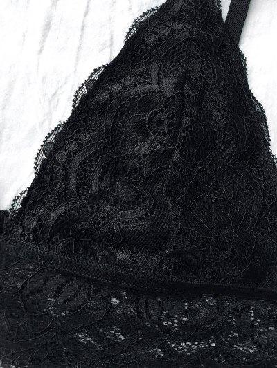 Lace Unlined Plunge Bra - BLACK L Mobile