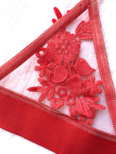Unlined Floral Mesh Bra - RED XL Mobile