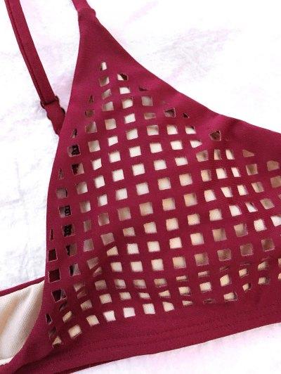 Square Laser Cut Bikini Top and Bottoms - BURGUNDY M Mobile