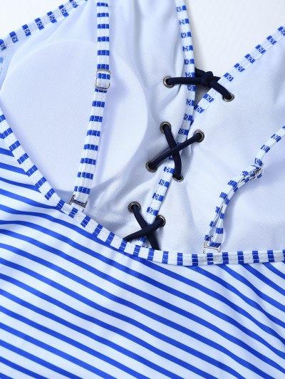 Striped Lace Up Swimwear - STRIPE XL Mobile