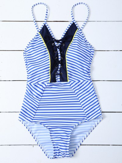 Striped Lace Up Swimwear - STRIPE L Mobile