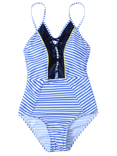 Striped Lace Up Swimwear - STRIPE M Mobile