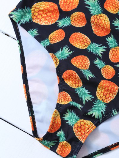 Scoop Neck Pineapple Print Swimsuit - BLACK L Mobile