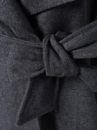 Tie Waist Shawl Collar Wrap Coat - GRAY XL Mobile