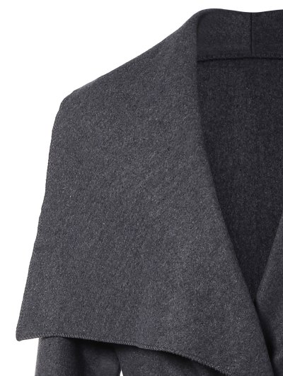 Tie Waist Shawl Collar Wrap Coat - GRAY L Mobile