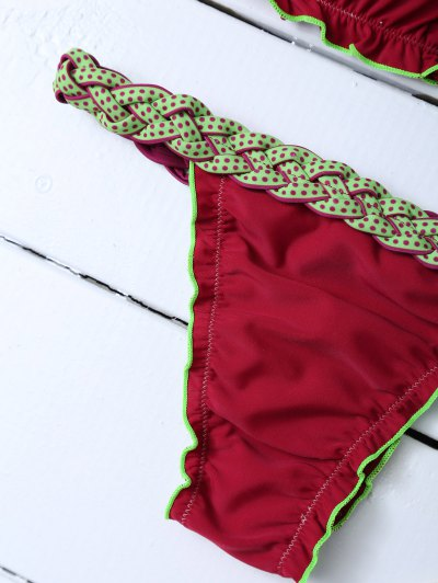 Scalloped Braid Waist Bikini Set - WINE RED M Mobile