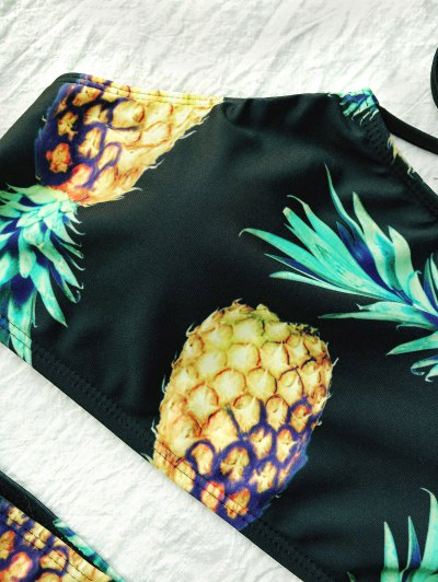Pineapple Print High Neck String Bikini - BLACK L Mobile
