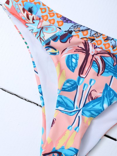 Printed Mesh Panel Bikini Set - BLUE L Mobile
