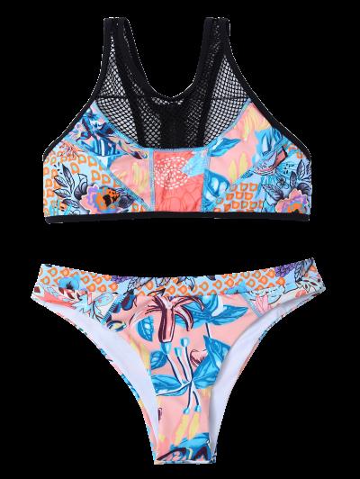 Printed Mesh Panel Bikini Set - BLUE S Mobile