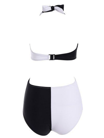 Halter Crossover Cut Out One-Piece Swimwear - WHITE AND BLACK L Mobile