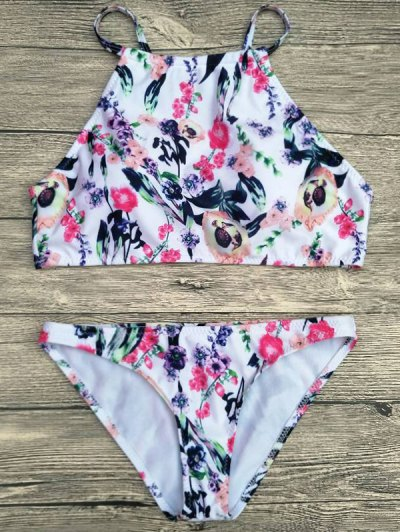 Floral Printed Spaghetti Strap Bikini Set - WHITE XL Mobile