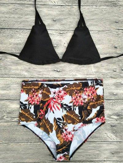 Strappy Printed High Waisted Bikini Set - Black