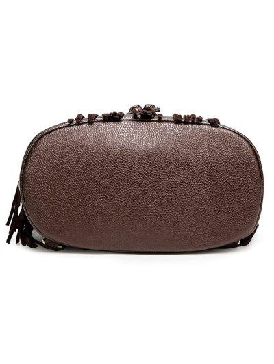 Fringe Faux Horsehair Panel Backpack - BLACK  Mobile