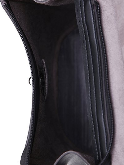 Flapped PU Leather Backpack - BLACK  Mobile