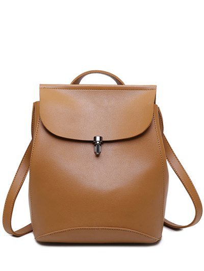 Flapped PU Leather Backpack - BROWN  Mobile