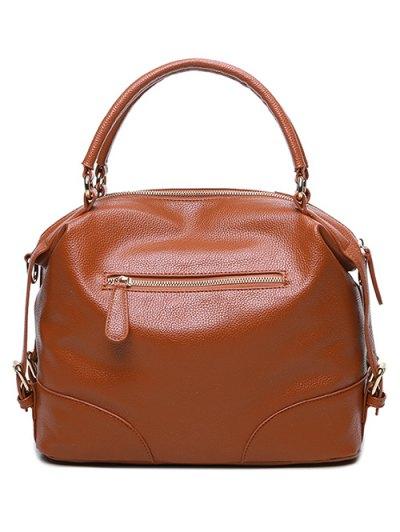 Buckle Straps Faux Leather Handbag - BROWN  Mobile