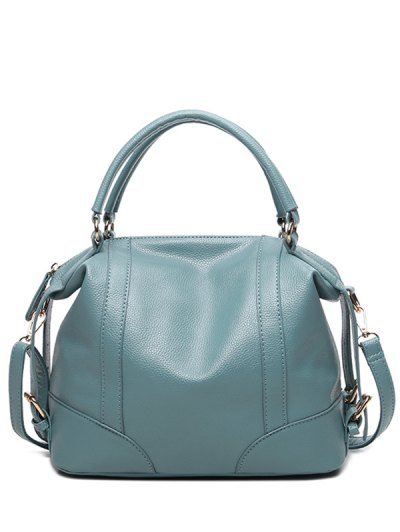Buckle Straps Faux Leather Handbag - BLUE  Mobile