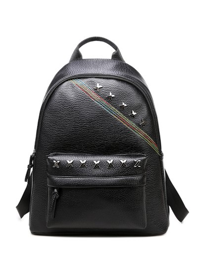 Criss Cross Faux Leather Backpack - BLACK  Mobile