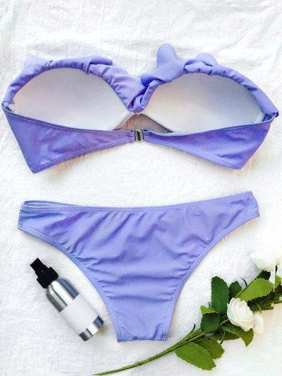 Bandeau Flounce Bikini Set - PURPLE L Mobile