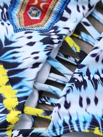 Patternd Cut Out One Piece Swimwear - COLORMIX XL Mobile