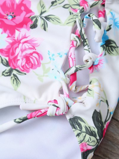 Floral Print High Waisted Bikini Set - FLORAL XL Mobile