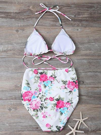 Floral Print High Waisted Bikini Set - FLORAL M Mobile