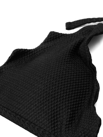 Tie Side Scalloped Halter Bikini Set - BLACK S Mobile