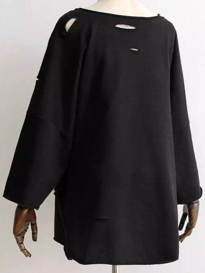 Boyfriend Drop Shoulder Ripped Sweatshirt - BLACK ONE SIZE Mobile