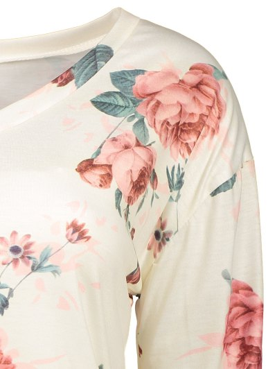 V Neck Long Sleeve Floral Tee - OFF-WHITE L Mobile
