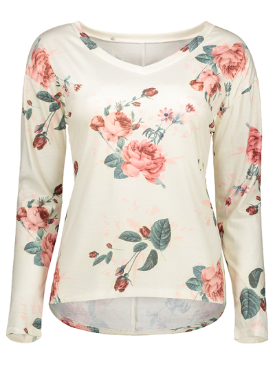 V Neck Long Sleeve Floral Tee - OFF-WHITE M Mobile