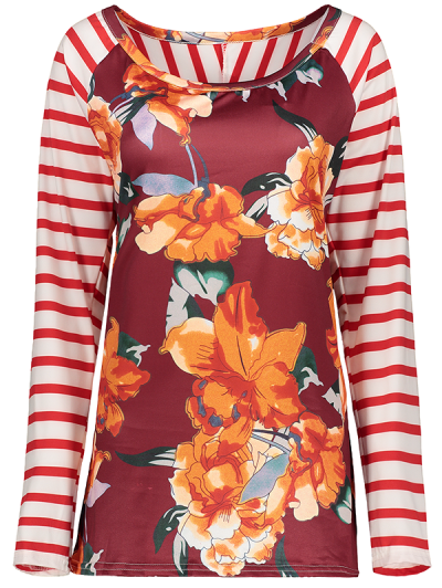 Stripes Panel Round Collar Flower Tee - RED M Mobile