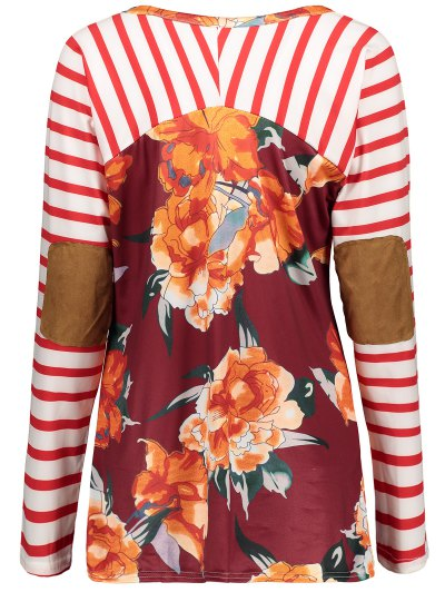 Stripes Panel Round Collar Flower Tee - RED S Mobile