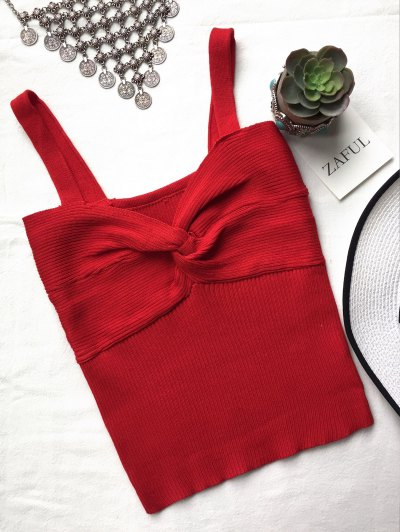 Knitted Front Twist Ribbed Tank Top