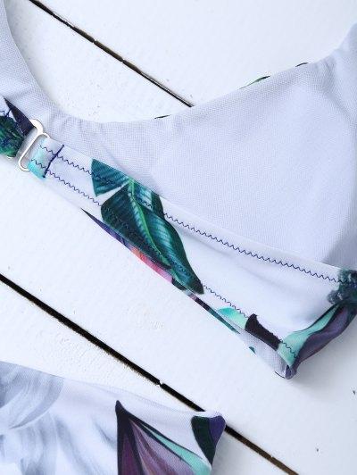 Halter Tropical Leaf Print Bikini - FLORAL M Mobile