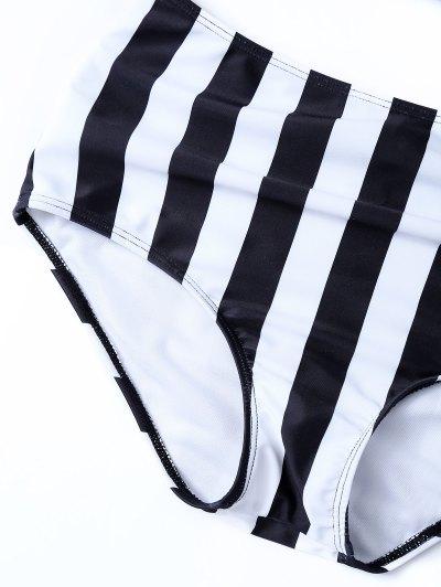 Striped High Waisted Underwired Bikini - BLACK S Mobile