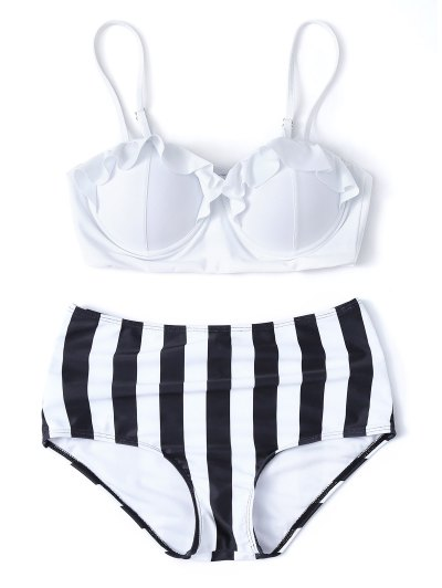 Striped High Waisted Underwired Bikini - WHITE M Mobile