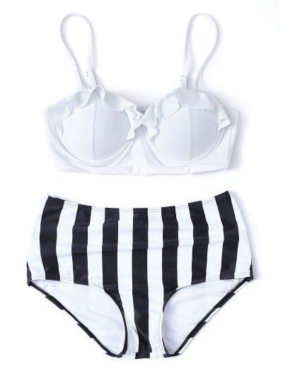 Striped High Waisted Underwired Bikini - WHITE M Mobile