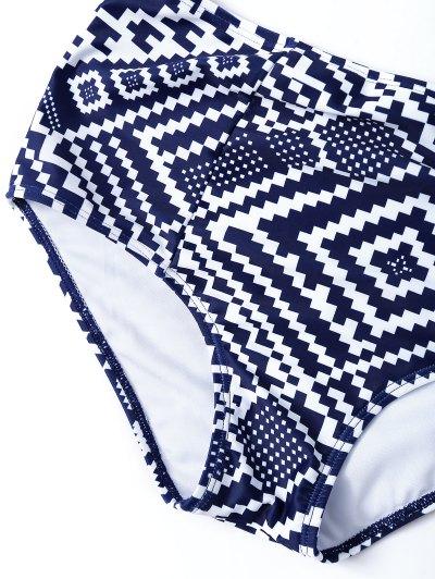 Geo High Waisted Underwired Bikini - BLUE AND WHITE M Mobile