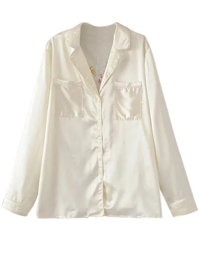 Satin Embroidered Pajama Shirt - OFF-WHITE L Mobile