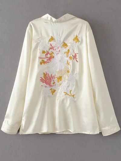 Satin Embroidered Pajama Shirt - OFF-WHITE M Mobile