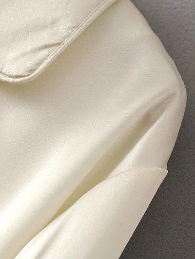 Satin Embroidered Pajama Shirt - BURGUNDY M Mobile