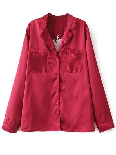 Satin Embroidered Pajama Shirt - BURGUNDY S Mobile