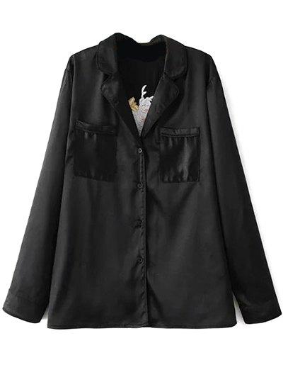 Satin Embroidered Pajama Shirt - BLACK S Mobile