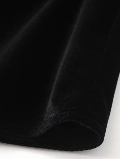 Billowy Cold Shoulder Velvet Blouse - BLACK M Mobile